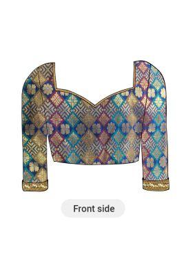 A Multicolor Brocade Soft Silk Panneled Blouse