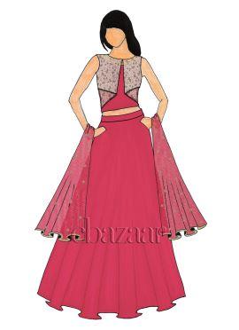 A Pink Art Dupion Silk Jacket Lehanga