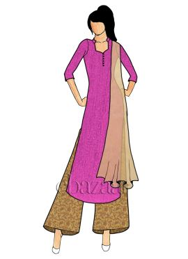 A Pink Dupion Silk Wide Leg Palazzo Suit