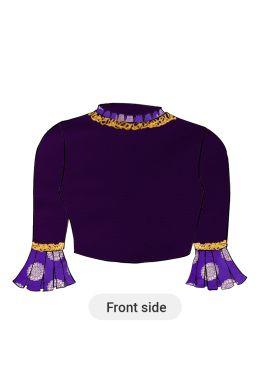 A Purple Acai Dupion Silk Box Pleate Sleeve Blouse