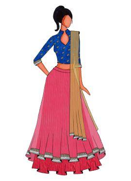 A Rani Pink Double Layered Lehanga Set