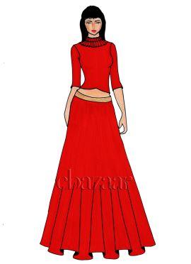 A Red Art Dupion Silk Crop Top And Skirt