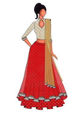 A Red Double Layered Lehanga Set