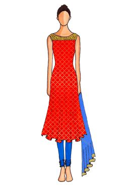 A Red Embroidered Flared Top with Blue Churidar Suit