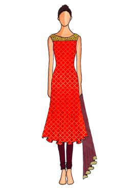 A Red Embroidered Flared Top with Burgundy Churidar Suit