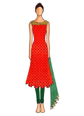A Red Embroidered Flared Top with Dark Green Churidar Suit