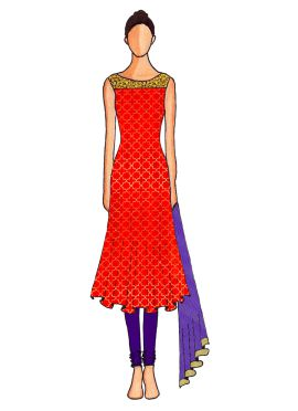 A Red Embroidered Flared Top with Light Purple  Churidar Suit