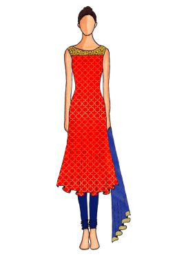 A Red Embroidered Flared Top with Midnight Blue Churidar Suit