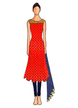 A Red Embroidered Flared Top with Navy Blue Churidar Suit