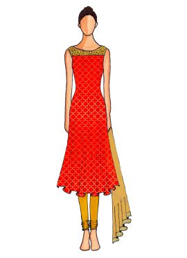 A Red Embroidered Flared Top with Saffron Churidar Suit