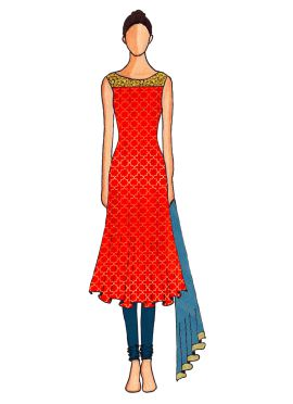 A Red Embroidered Flared Top with Teal Blue Churidar Suit
