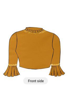 A Saffron Dupion Silk Box Pleate Sleeve Blouse