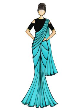 A Simple Blue Crepe Saree with Black Blouse