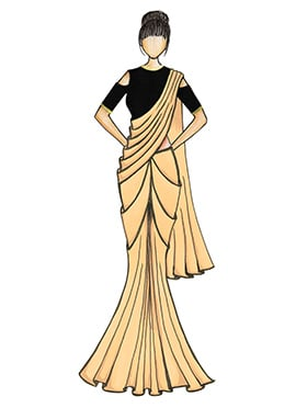 A Simple Cream Georgette Saree with Black Blouse