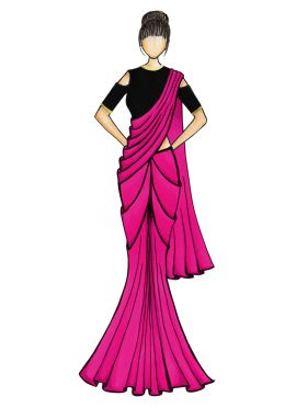 A Simple Dark Pink Georgette Saree with Black Blouse