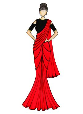 A Simple Red Georgette Saree with Black Blouse