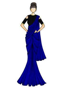 A Simple Royal Blue Georgette Saree with Black Blouse