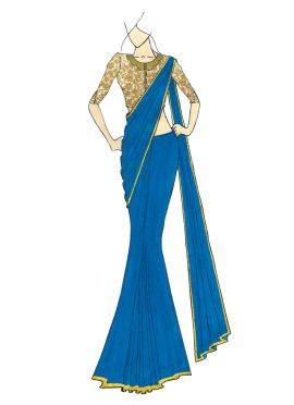 A Stylish Aqua Blue Georgette Saree with Gold Embr
