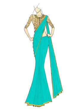 A Stylish Ceramic Georgette Saree with Gold Embroi