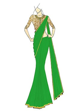 A Stylish Fern Green Georgette Saree with Gold Embroidred Blouse