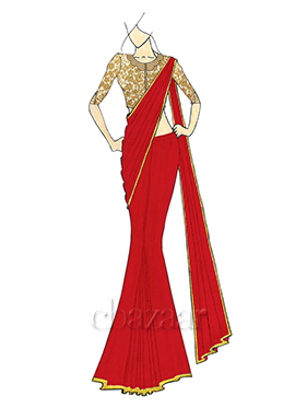 A Stylish High Risk Red Georgette Saree with Gold Embroidred Blouse