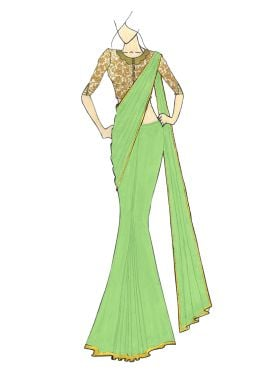 A Stylish Light Green Georgette Saree with Gold Em