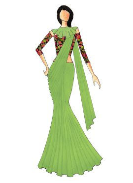 A Stylish Light Green Saree That Comes With A Trendy Multicolored Off Shoulder Blouse N Beautiful Ca
