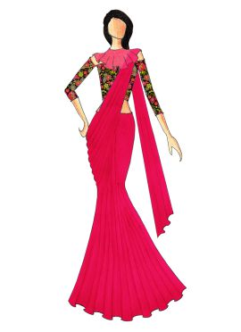 A Stylish Pink Saree That Comes With A Trendy Multicolored Off Shoulder Blouse N Beautiful Cape