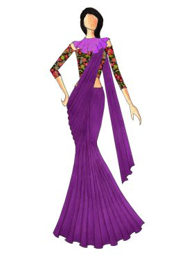 A Stylish Purple Saree That Comes With A Trendy Multicolored Off Shoulder Blouse N Beautiful Cape