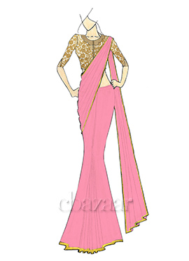 A Stylish Quartz Pink Georgette Saree with Gold Embroidred Blouse