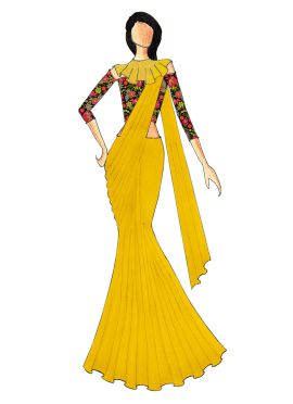 Multicolored Off Shoulder Blouse With Yellow Saree