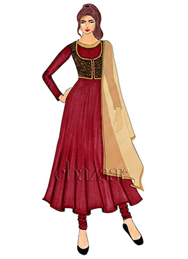 A Tango Red faux georgette Jacket Style Anarkali Suit