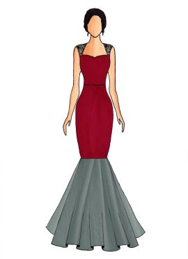 A Tango Red Mermaid Gown With Bottom Flare