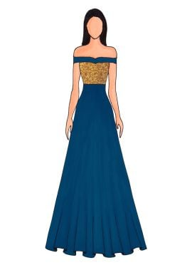 A Teal Blue Floor Length Gown That Features An Off Shoulder Pattern