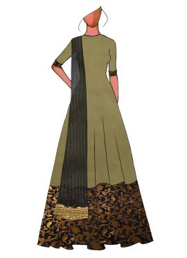 A Traditional Black Full Length Anarkali Suit
