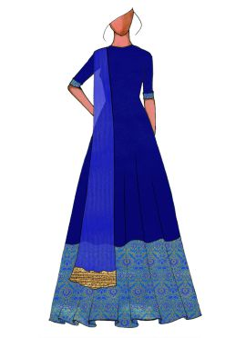 A Traditional Blue Full Length Anarkali Suit