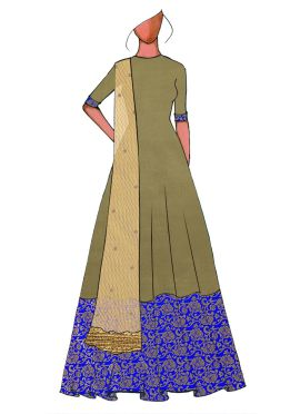 A Traditional Gold Full Length Anarkali Suit