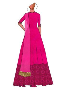 A Traditional Pink Full Length Anarkali Suit
