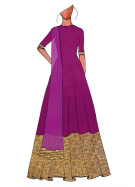 A Traditional Purple Full Length Anarkali Suit