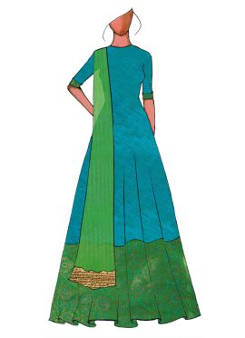 A Traditional Turquoise Full Length Anarkali Suit