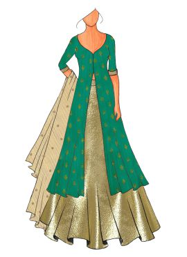 A Trendy Anarkali Lehenga With A Embroided Design At The  Back.