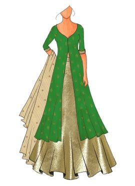 A Trendy Anarkali Lehenga With A Embroided Design At The  Back