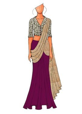 A Trendy Beige Jacket Collared Blouse With Beige N Dark Purple  Half N Half Saree