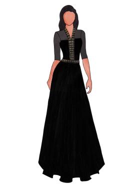 A Trendy Black Georgette Floor Length Gown