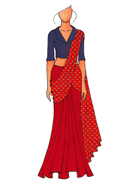 A Trendy Blue Jacket Collared Blouse With Red N White  Half N Half saree