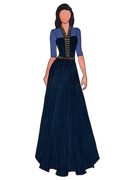 A Trendy Navy Blue Georgette Floor Length Gown