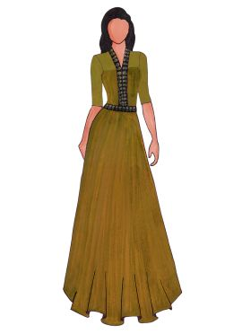 A Trendy Olive Green Georgette Floor Length Gown