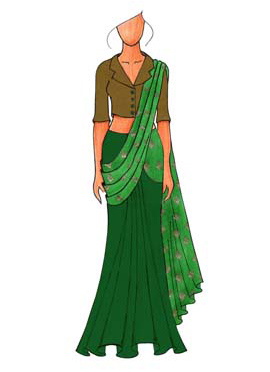 A Trendy Olive Green Jacket Collared Blouse With Green Half N Half Saree