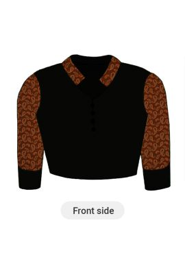 A Very Trendy Black Closed Collar Blouse