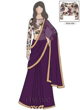 Acai Georgette Saree N Full Sleeve Blouse
